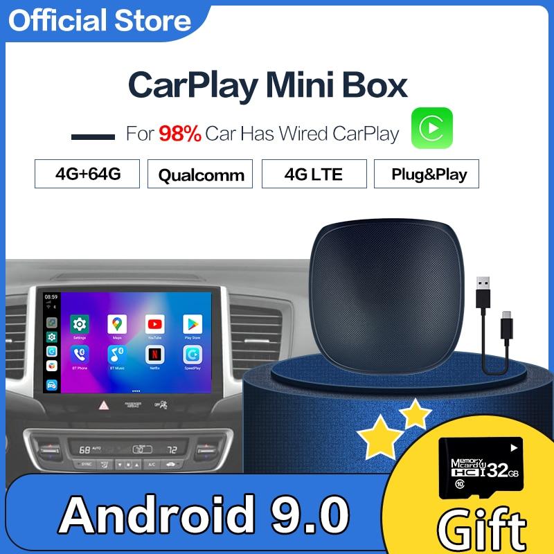 Carplay صندوق أندرويد صغير لاسلكي Carplay Ai صندوق سيارة الوسائط المتعددة لاعب UX999 4 + 64G الملاحة الصوت لفولكس واجن كيا تويوتا