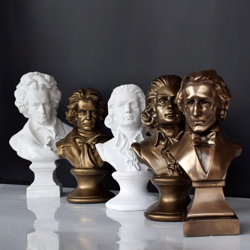 Músicos mozart beethoven chopin retrato escultura ornamentos de piano sala de aula auxiliares de ensino decoração feliz natal para casa