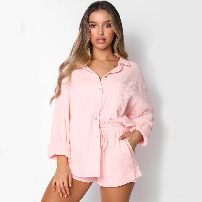 Casual Loose 2 Piece Sets Women Turn-Down Collar Long Sleeve Single-Breasted Button Blouse Shirts And High Waist Shorts Sexy Set