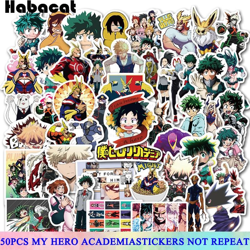 50 Pcs/Pack My Hero Academia Anime Stickers For Motorcycle Skateboard Laptop Luggage Car Fridge DIY Vinyl Sticker Phone Decal