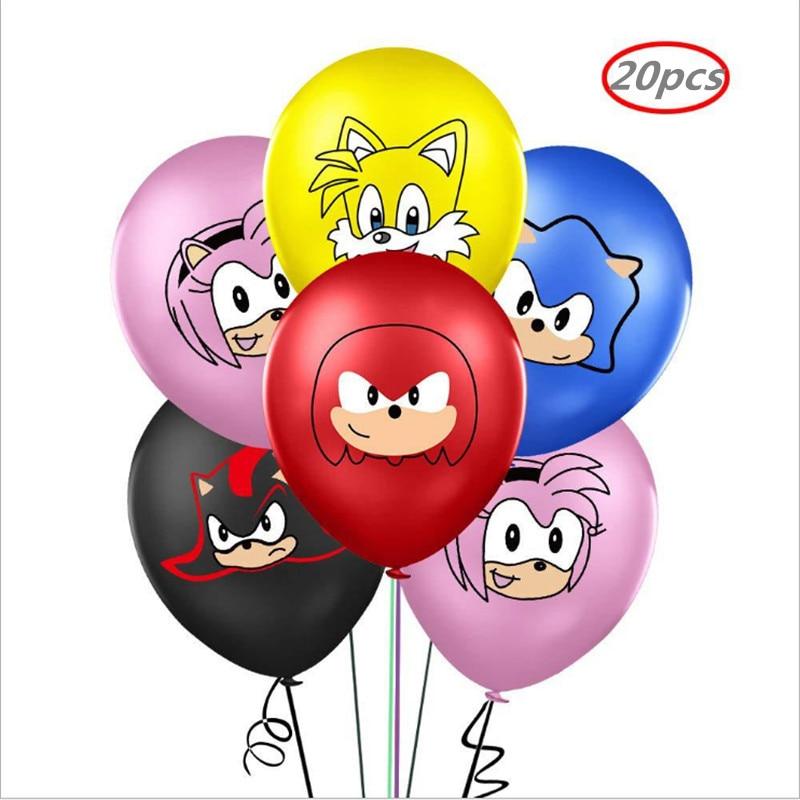 20PCS Latex und Aluminium Film Ballon Sonic Hedgehog Superhero Ballon Baby Dusche Geburtstag Party Dekoration Ballon