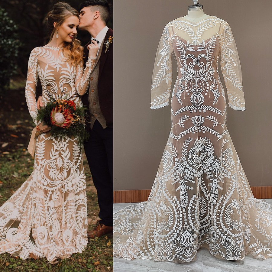 Review High Slit Beach Destination Wedding Dress Two Pieces Slip Lace Robe Long Sleeves Illusion Boho Elopement Mermaid Bridal Gown