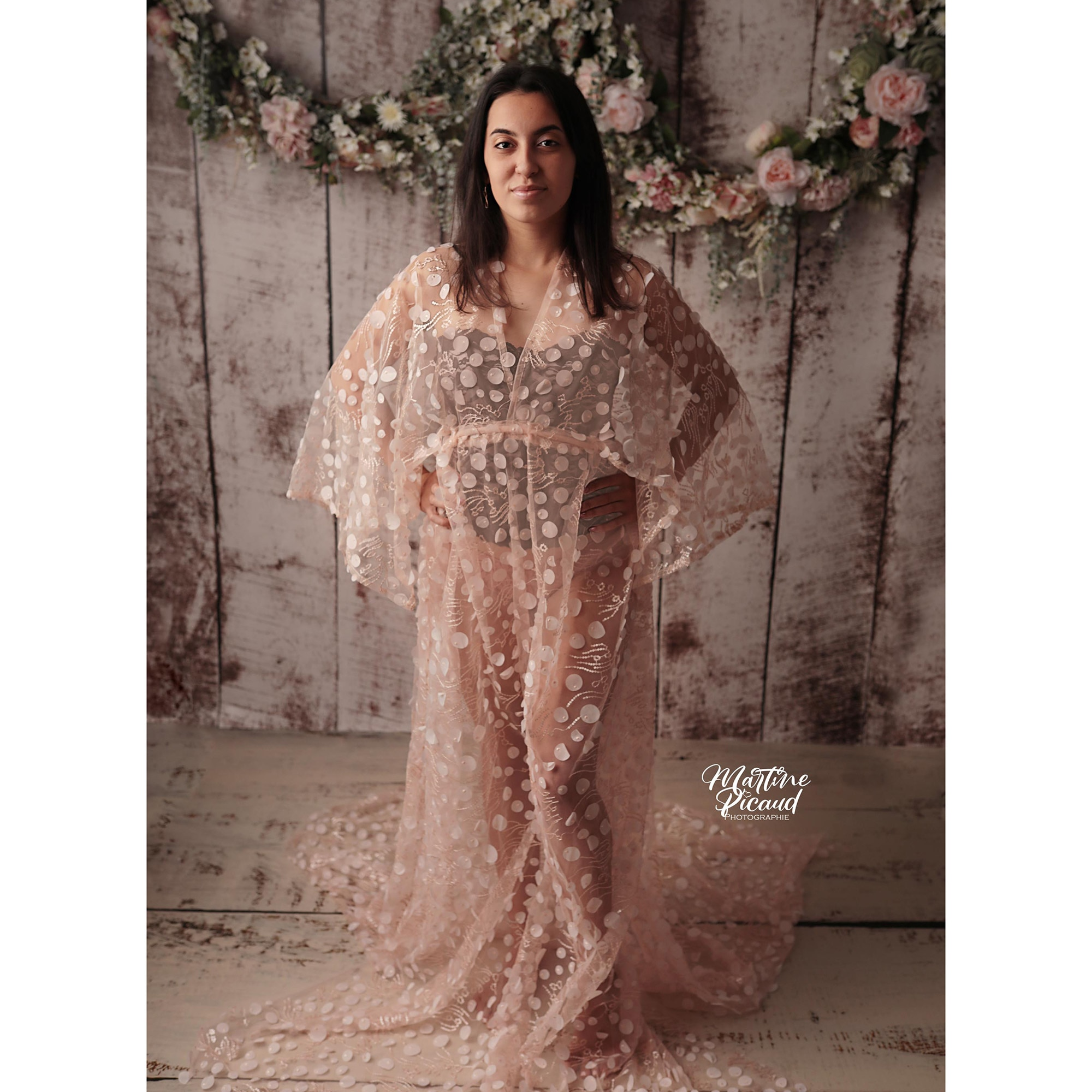 Boho Tulle Photography Sparkly Dress Maternity Robe Pregnant Kaftan Photo Shoot Baby Shower Evening Party Prom Women Couture enlarge