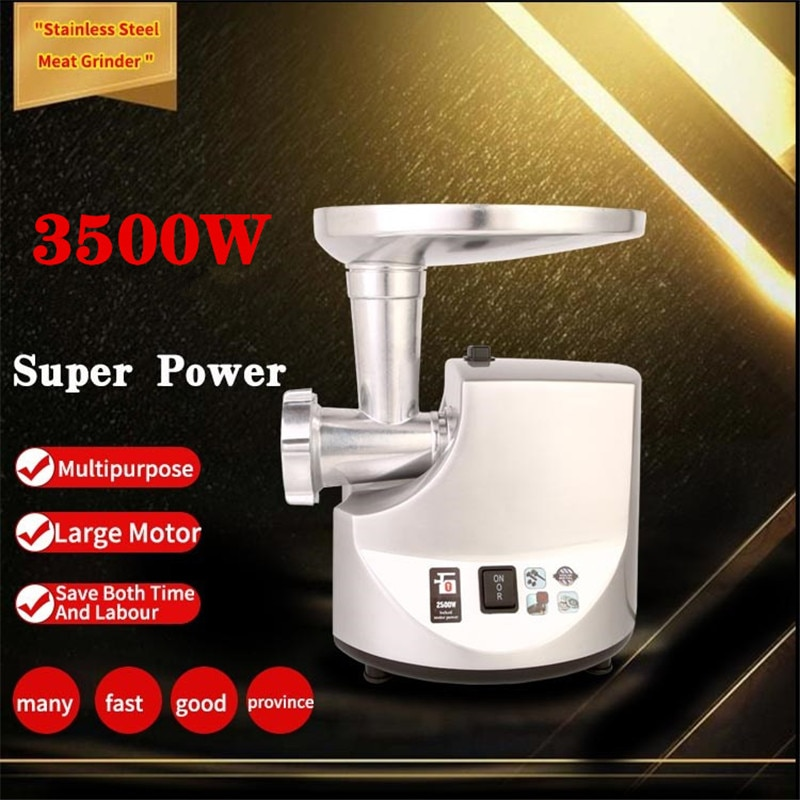 3500W Powerful Stainless Steel Electric Meat Grinders Home Sausage Stuffer Mincer Heavy Duty Household