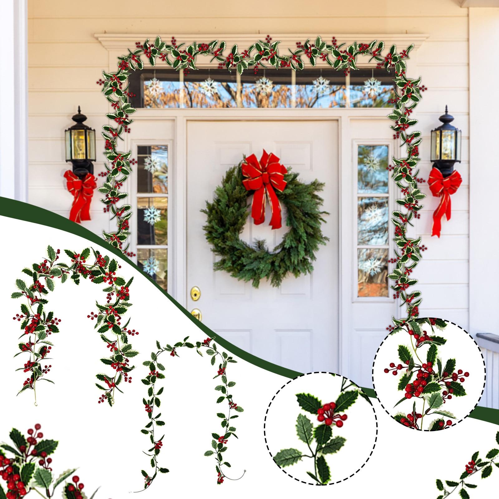 Guirnalda navideña de bayas rojas Para decoración de Casa y Navidad, Flexible,...