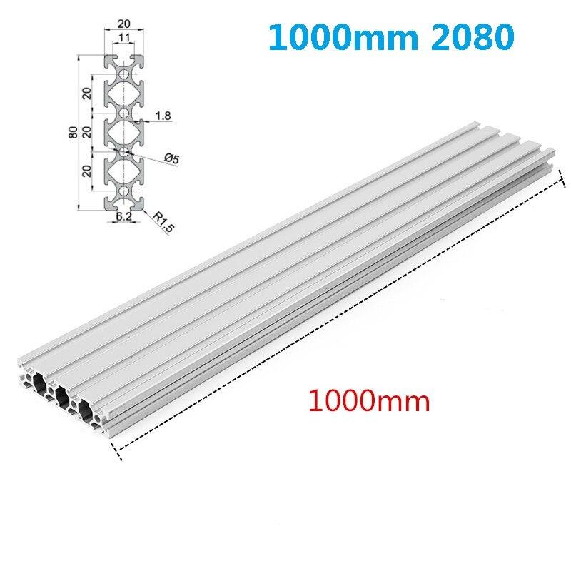 Marco de extrusión de perfiles de aluminio con ranura en T plateado de 1000mm y 2080 para impresoras CNC 3D, muebles con soporte láser de Plasma
