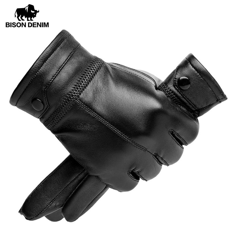 Guantes de piel de oveja para hombre BISON DENIM, guantes cálidos remachados negros con pantalla táctil de calidad para invierno, guantes cálidos para hombre S002