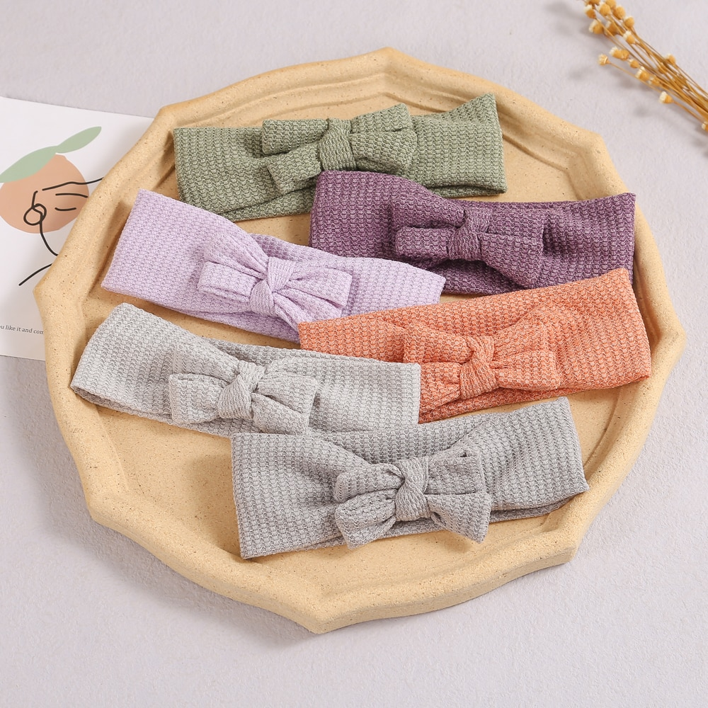 32pc/lot 2021 New Infant Baby Bowknot Headband Waffle Fabric Head wraps Kids Solid Bows Turban Children Girl's Hair Accessories