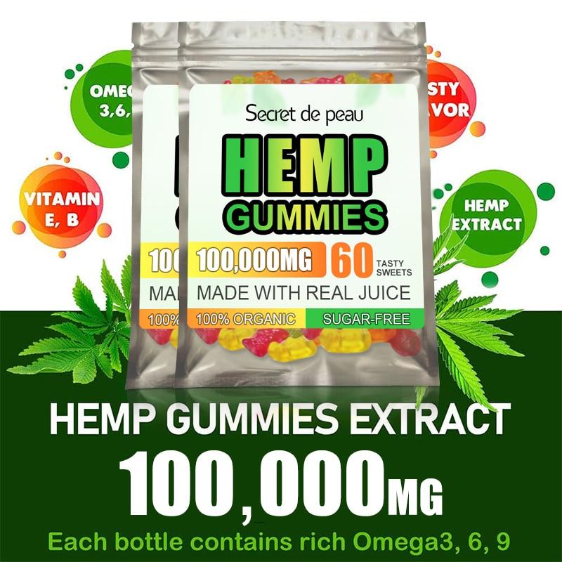 Secret De Peau CBD Hemp Gummies Relieve Pressure Anxious Relieve Pain Help Better Sleep Health Products Serum