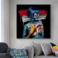 cool girl graffiti art oil painting colorful portrait posters and prints on canvas wall art picture for living room home decor