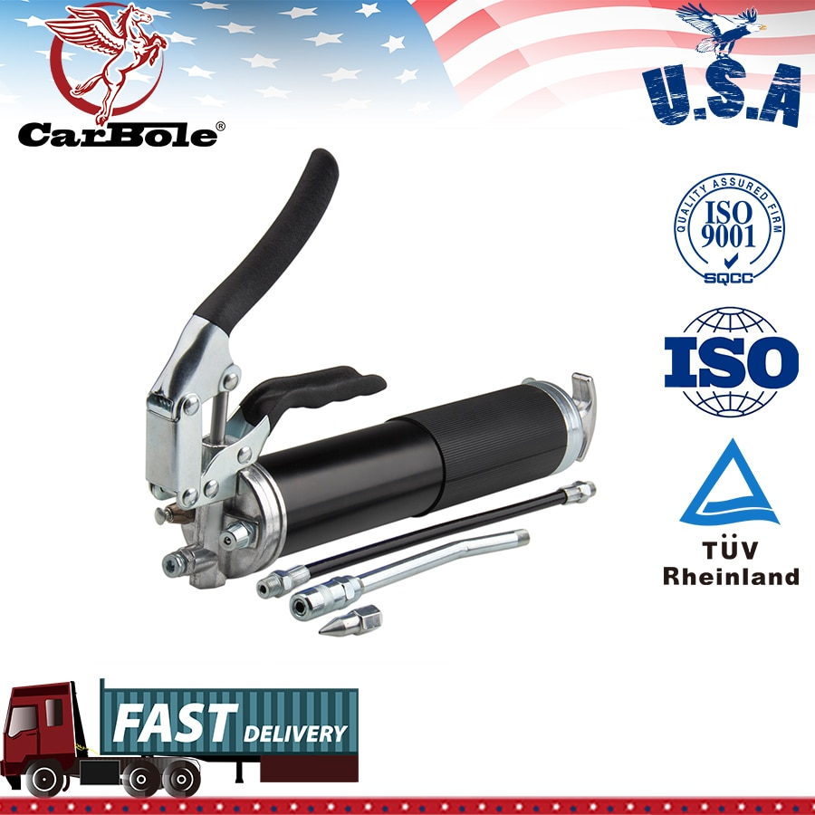 """Lubrificação resistente preta do aperto 400cc 14oz da pistola da graxa de carbole 6000psi com 12 """"mangueira do cabo flexível e uma extensão 5-1/2"""" do metal"""