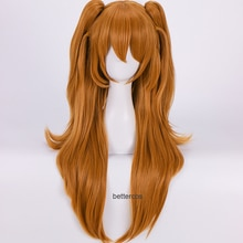 EVA Asuka Langley Soryu Cosplay Wigs Long Orange With 2 Ponytail Clips Heat Resistant Synthetic Hair