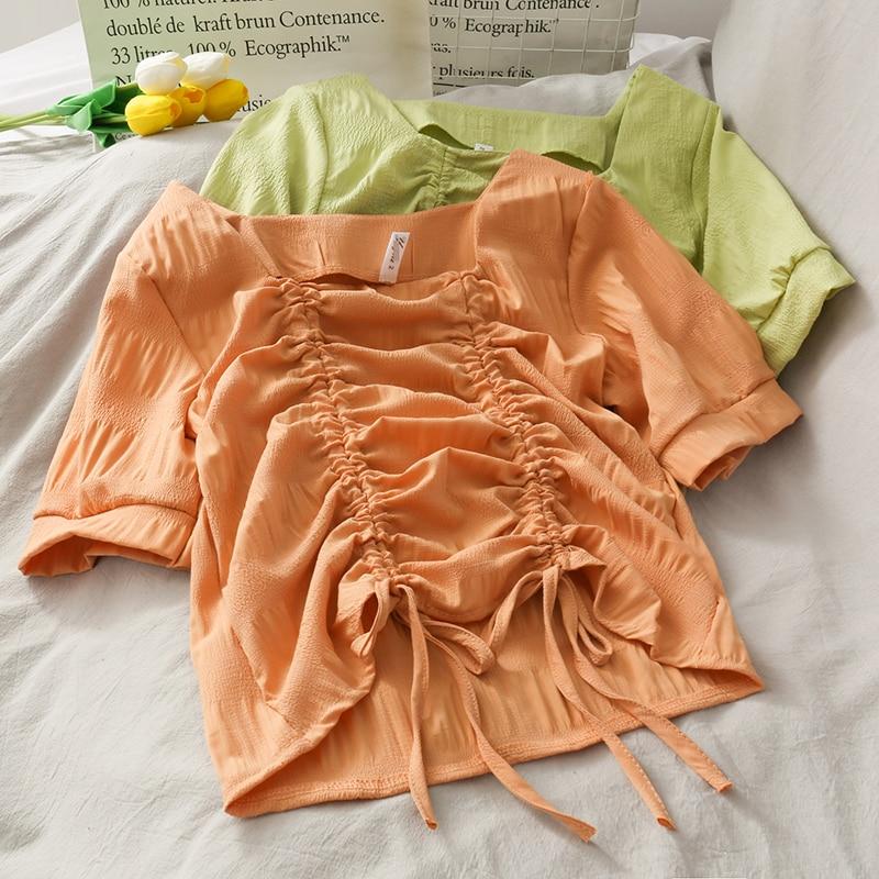 MUMUZI 2020 diseño de verano cordón camisa fruncida diseño corto, camisa con cuello cuadrado de las mujeres Blusa de manga larga de mujer