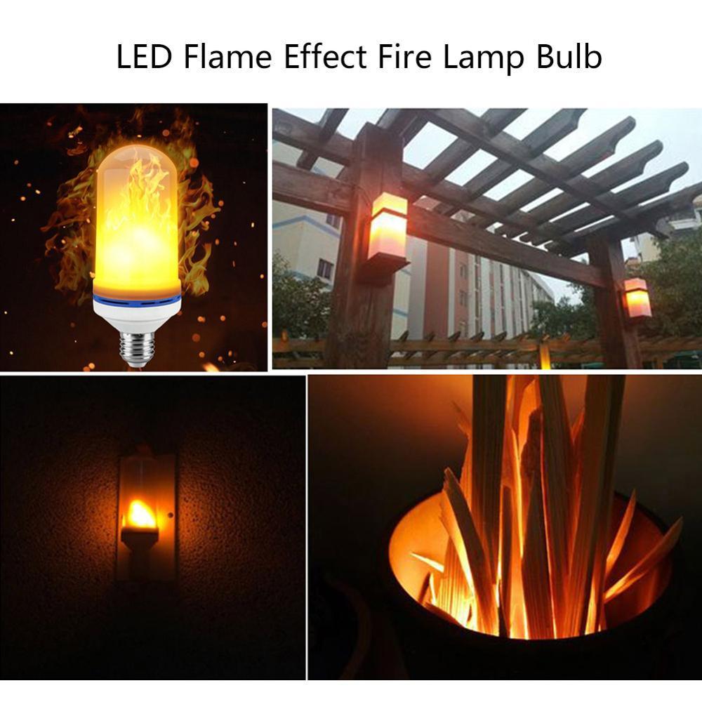 Lâmpada de efeito de chama led 3 modos de emulação de cintilação casa decoração do jardim lâmpada led e27 lâmpada de chama cintilação com efeito de cabeça para baixo