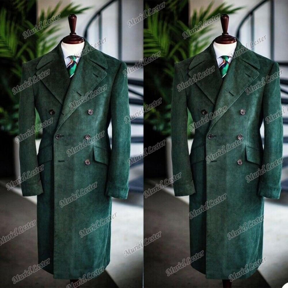 الأخضر سروال قصير بدلة عمل جاكيتات مزدوجة الصدر الصوف يمزج خياط صنع الرجال السترة Masculino زي أوم أبلى معطف
