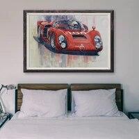 Peinture classique de voiture de course rouge retro T052  13 affiches en soie personnalisees  decoration murale  cadeau de noel