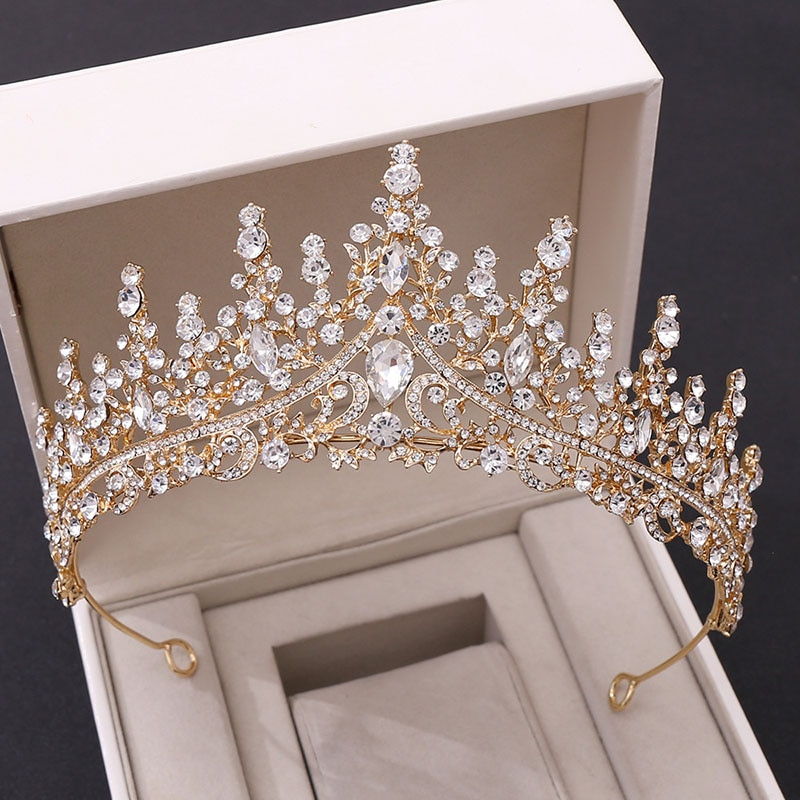 FORSEVEN Luxury Crystal Rhinestone Crown Tiaras Headband Bride Headdress Women Wedding Hair Jewelry Headpeice Hair Accessory JL