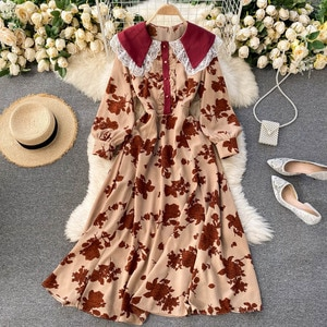 French retro court dress lace edge baby collar bubble sleeve fashion printing loose thin  fashion