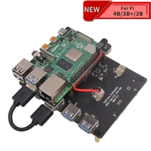 "Raspberry X828 Stackable 2.5"" SATA HDD/SSD Shield Expansion Board USB3.0 Hub for Raspberry Pi 4 B/3B+/3B/2B/1B+"