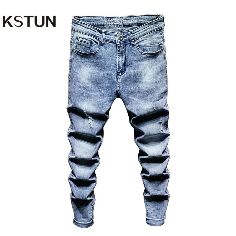 Ripped Jeans for Men Slim Fit Light Blue Stretchy Fashion Mens Torn Jeans rip Moto Biker Jeans Pants Men Trousers Hip Hop Boys