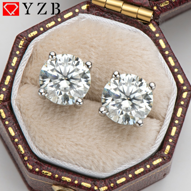Review 2 Carat D Color Top Quality Moissanite Stud Earrings 100% 925 Sterling Silver for Women Party Anniversary Wedding Fine Jewelry