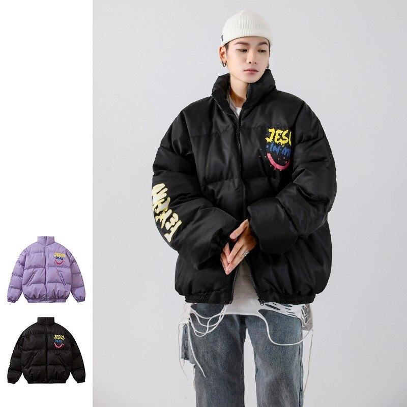 Куртка мужская зимняя оверсайз с принтом хлеба, теплая хлопковая модная уличная одежда с мультяшным принтом, оригинал