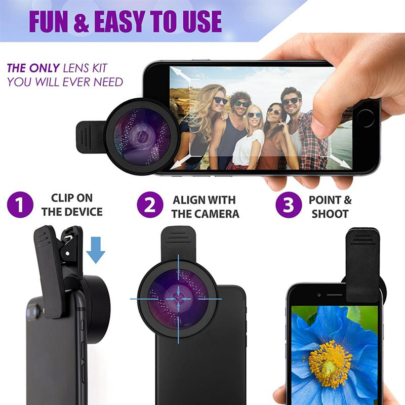 APEXEL Mobile Phone Lens Kit 0.45x Super Wide Angle 12.5x Super Macro Lens HD Camera Lentes For IPhone 6 7 Xiaomi Redmi Huawei enlarge