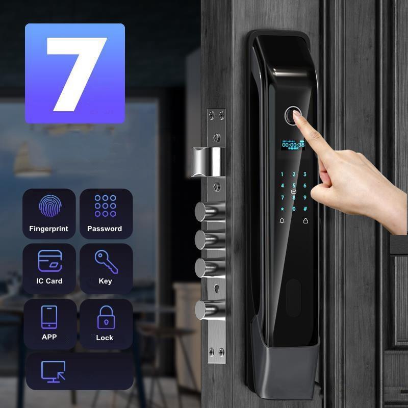 Wifi Smart Digital Camera Door Lock Tuya APP Remotely Keyless Entry Keypad Lock Biometric Fingerprint Password Smart Card Unlock