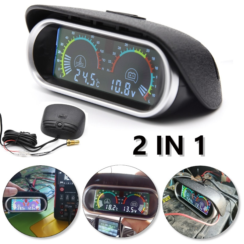 2 52mm water temp gauge blue red led car temperature digital meter tint lens universal gauge pod mount holder black 2 in 1 12v/24v LCD Car Digital Horizontal gauge Water Temp Gauge Meter Voltmeter Voltage Gauges with Temperature Sensor