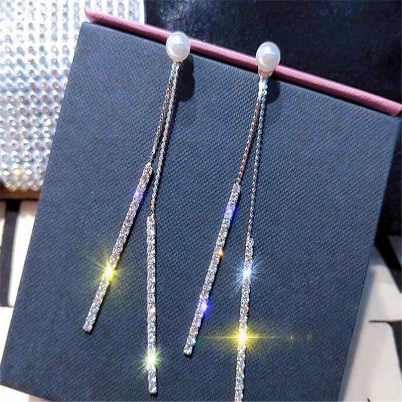 Cristal con borla larga pendiente con diamante de imitación perla exquisita oro colgante de color plateado pendientes para mujer boda novia joyería regalos