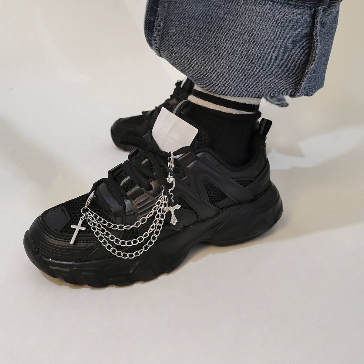 Hiphop Cross Tassel Pendant Boot Shoe Chain Jewelry 2021 New Jewelry Anklet Chains for Woman Man Unisex Party Jewelry Gift