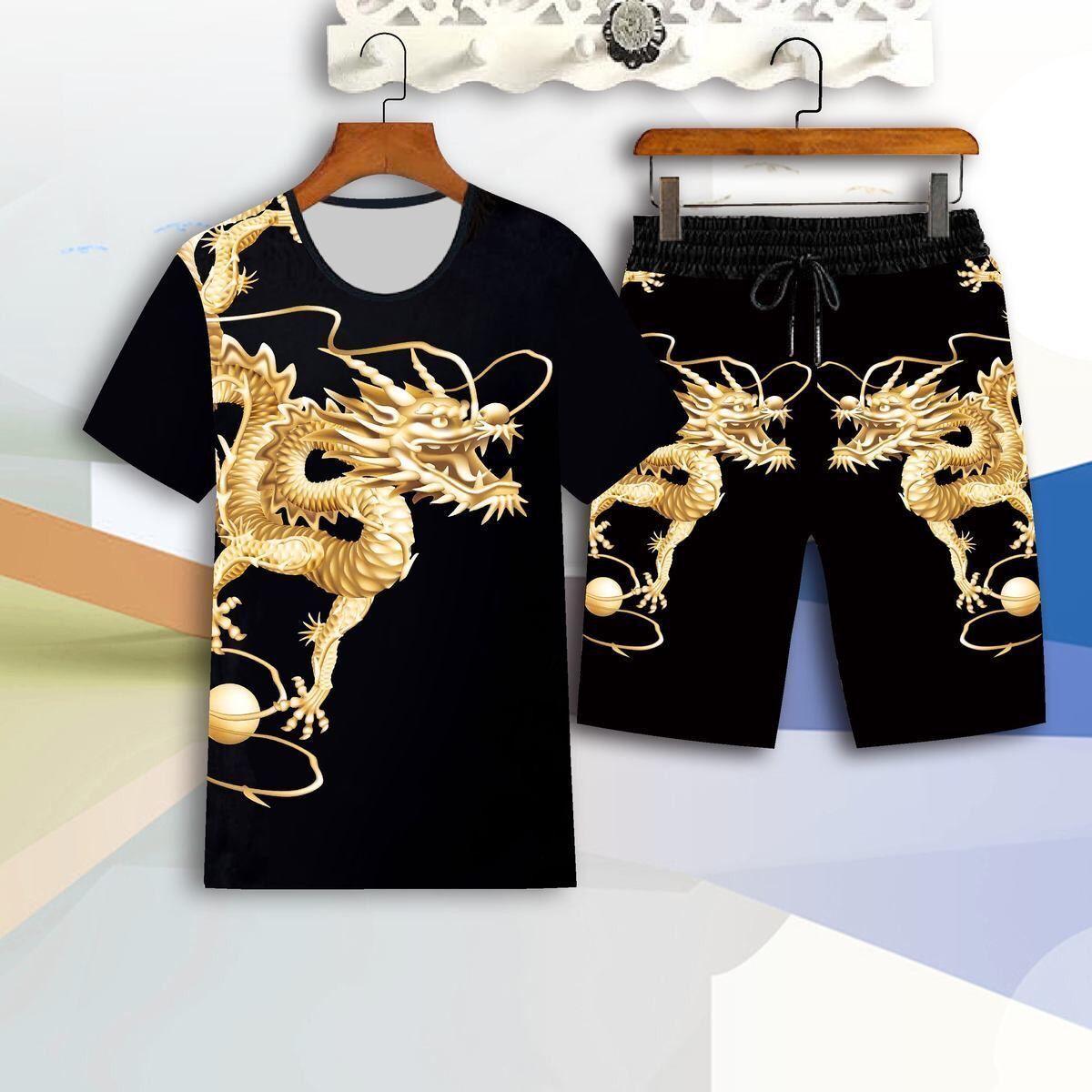 Suit men's short-sleeved T-shirt summer tide brand 2021 new loose trend clothes a set of handsome summer clothes tide