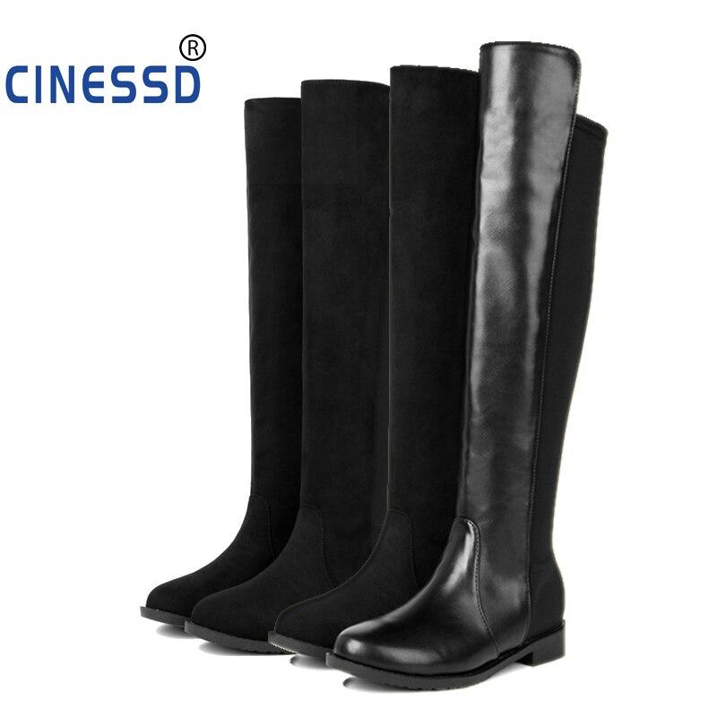 CINESSD taille 44 troupeau sur genou bottes pour femme bottes cuissardes bas Slim chaud chaussures femme élastique Botas altas Mujer