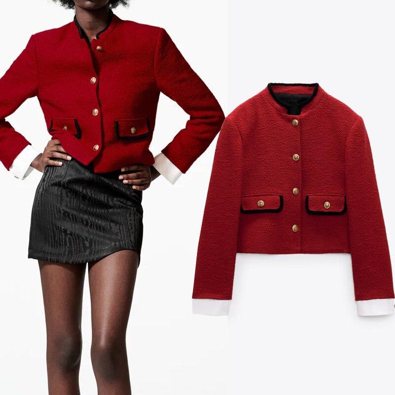 سترة من TRAF Za موضة 2021 حمراء اللون سترة نسائية من التويد سترة نسائية للخريف منقوشة بأزرار ملابس مكتبية جاكيت قصير عتيق