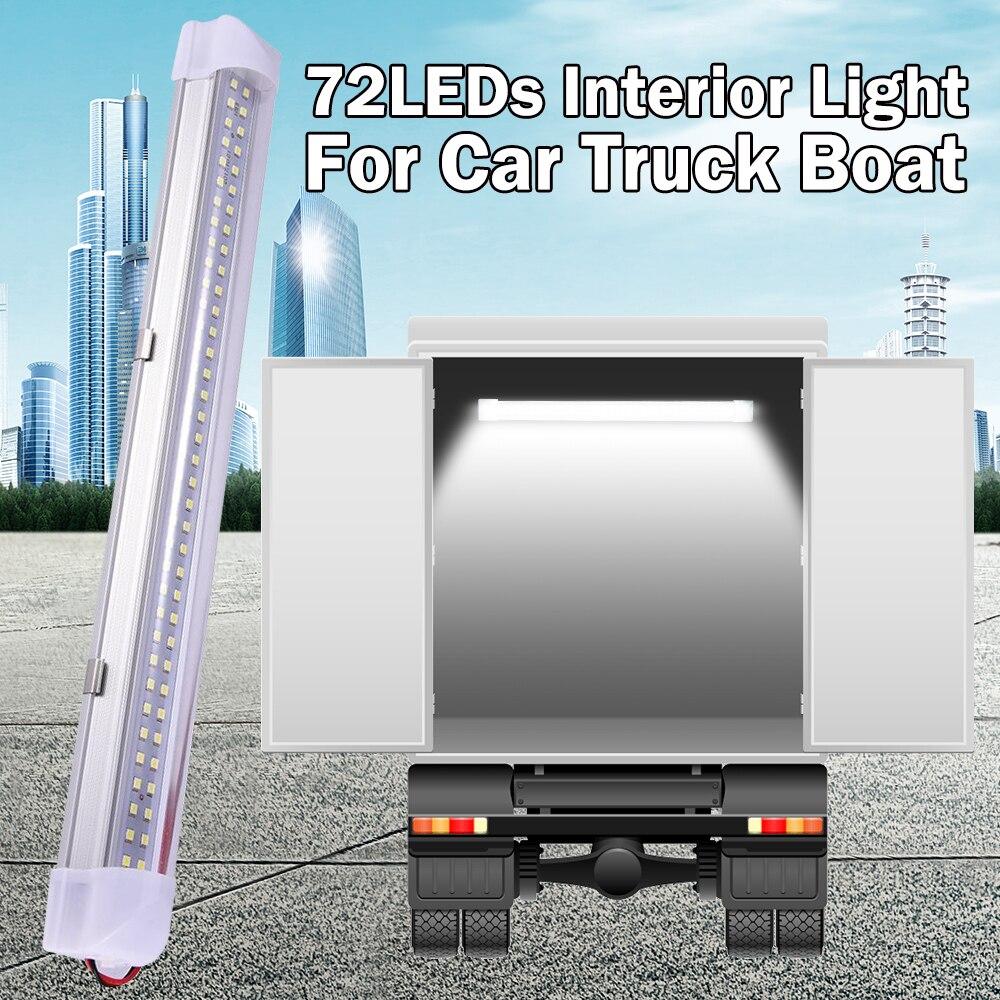 13.5 Polegada interior do carro conduziu a barra de luz 5 w 72 led tubo luz branca com interruptor para van caminhão rv camper barco luz teto d30