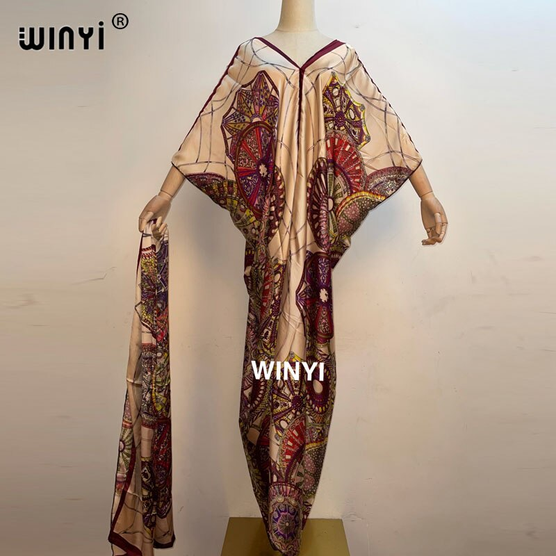 WINYI-فستان طويل ماكسي قفطان نسائي ، فستان صيفي أنيق للسهرة ، تصميم عربي ، فضفاض ، 2021