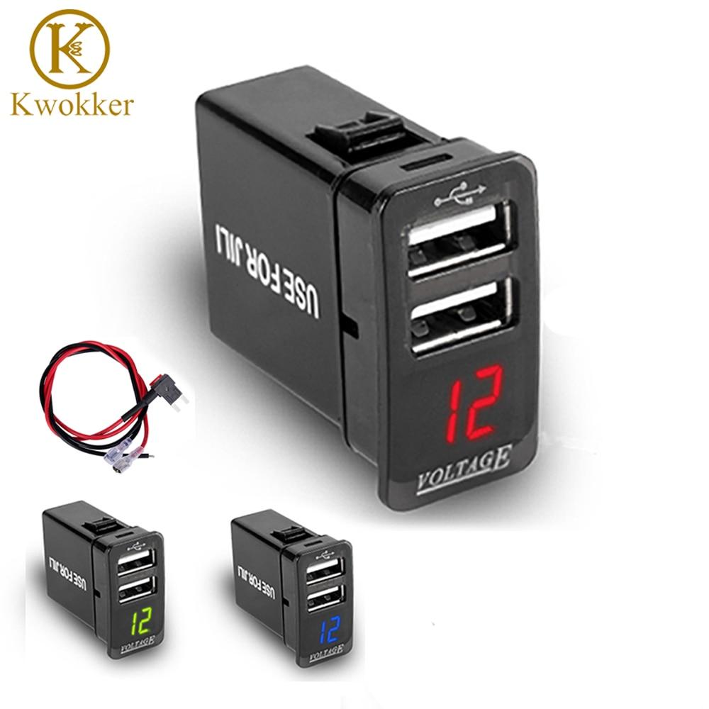 KWOKKER 5V/4.2A Dual USB Port Car Charger 12-24V 2USB Car Charger Socket Power Adapter with Voltage LED Display For JILI/GSGL