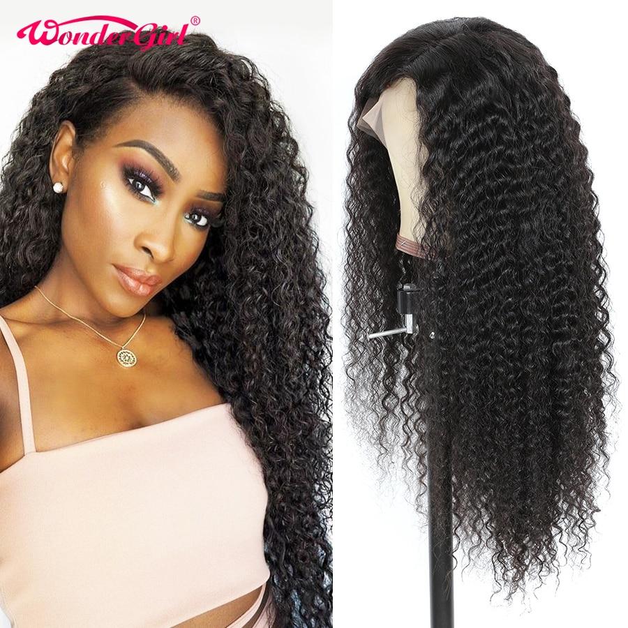 Wonder girl 13x6 pelucas de cabello humano frontal de encaje peluca ondulada brasileña Remy con pelo de bebé Pre desplumado 250 densidad peluca con encaje sin derramamiento