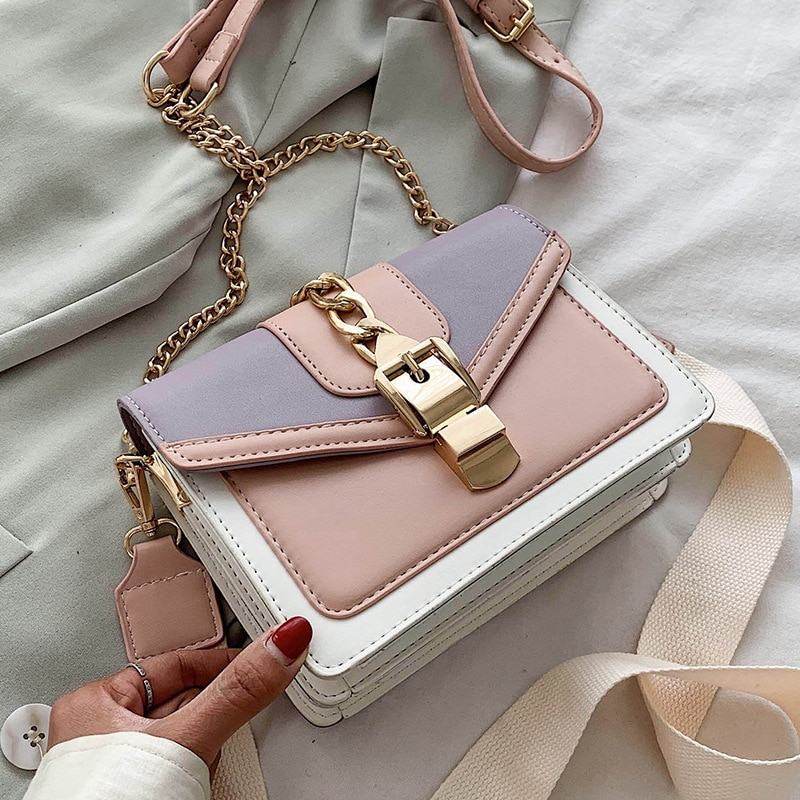 Fashion chain lady Sling bag Panelled color PU Leather Crossbody Bag For Women 2020 new Wide strap Shoulder Messenger Bag Ladies