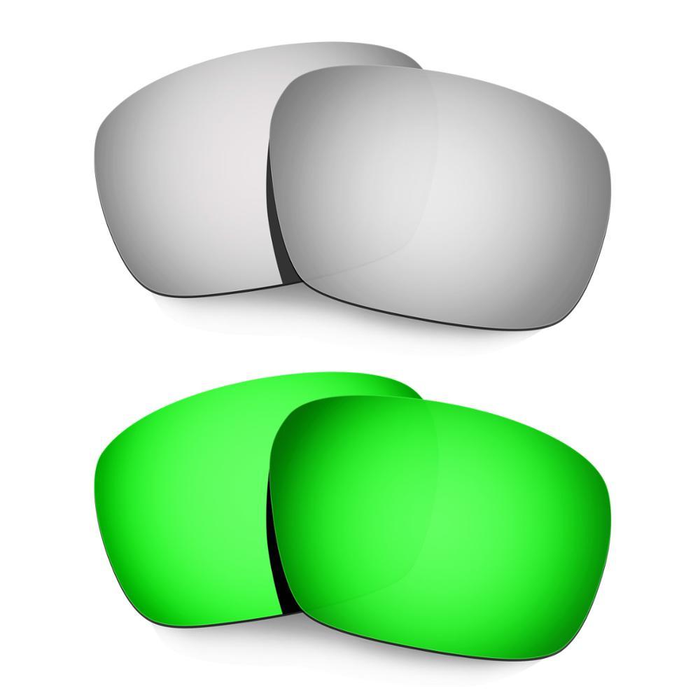 HKUCO ل Badman النظارات الشمسية المستقطبة استبدال العدسات 2 أزواج الفضة و الأخضر