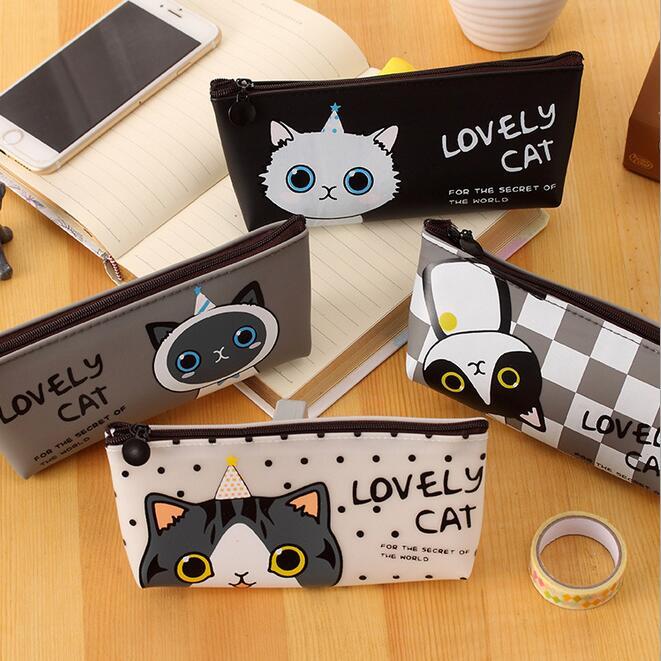 1pcs/lot Novelty Lovely Cat series Zipper Silica gel Pencil case Kawaii pencil bag students gift prize school office supplies