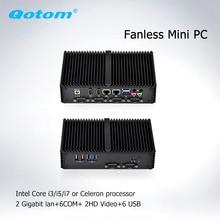 Qotom Mini PC x86 dual core processor celeron core i5 i7 dual display 6rs232 linux Ubuntu Fanless Barebone Industrial Computer