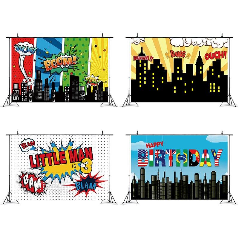 Edificios de la ciudad, Comics superhéroes, fondos de Fiesta Temática, fiesta de bienvenida para el futuro bebé niños decoraciones para fiesta de cumpleaños, fondos de utilería de fotografía