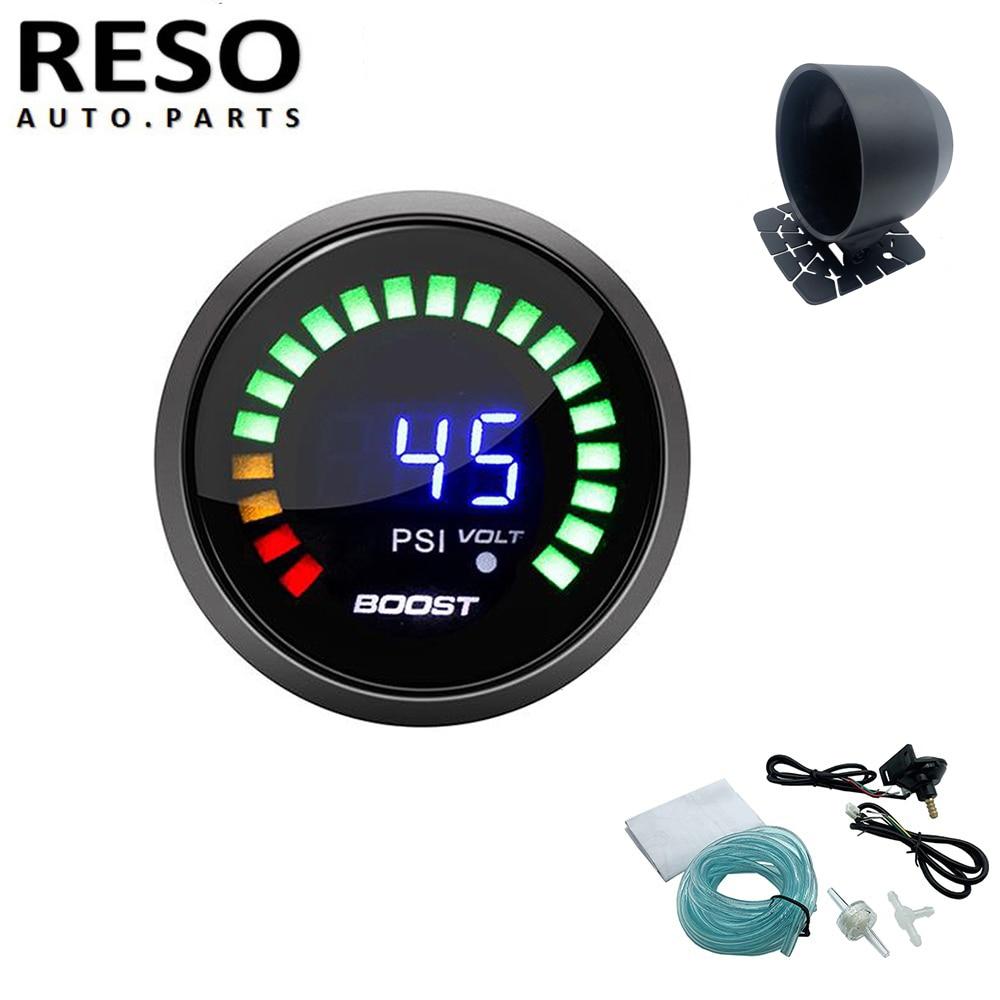 RESO--12V Auto Turbo Boost Gauge 15-45psi luz Led Turbo Boost de Metro con Universal calibrador único taza coche/Pod de soporte titular de montaje
