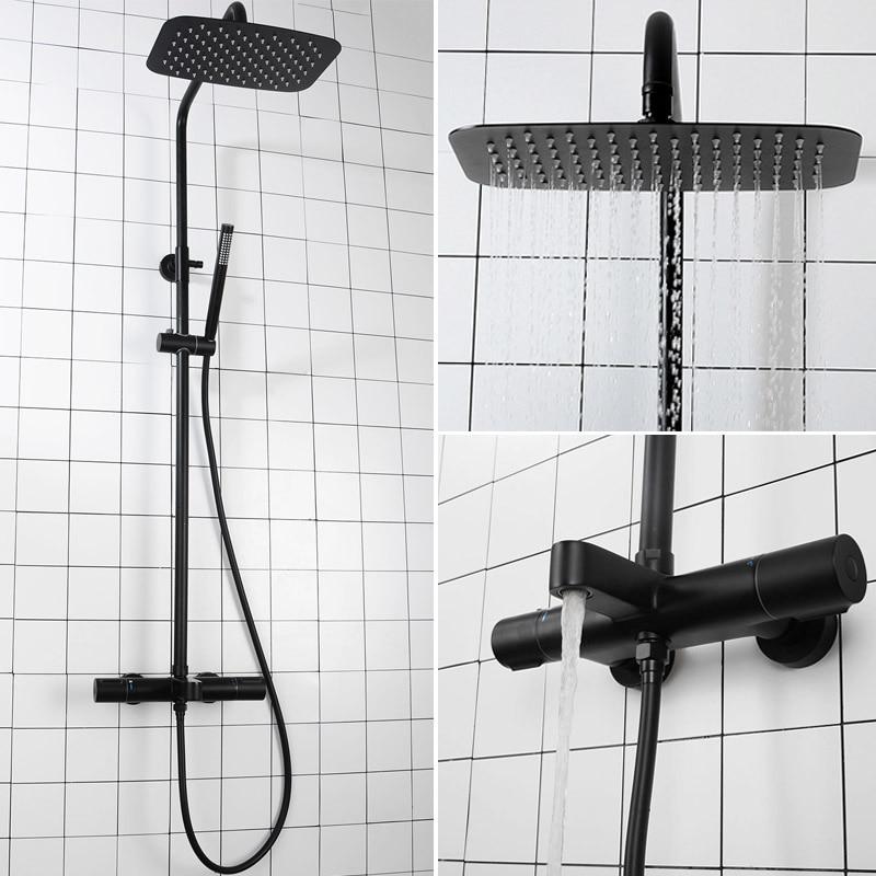 رأس دش ثرموستاتي مثبت على الحائط ، مع تأثير هطول الأمطار ، للحمام ، أسود