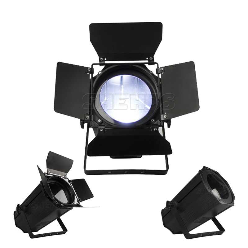 SHEHDS-مصباح LED COB Zoom 200W ، ضوء أبيض دافئ وبارد مع أبواب الحظيرة ، إضاءة مسرح DJ ديسكو ، موسيقى الكريسماس