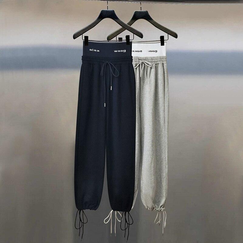 وانغ رسالة حزام مرونة عالية الخصر سراويل تقليدية الرباط خياطة التباين مستقيم الساق عالية الجودة الرياضة