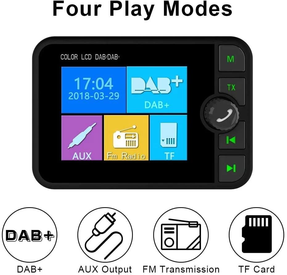 DAB-receptor de Radio para coche, con pantalla, sonido estéreo, antena de señal...