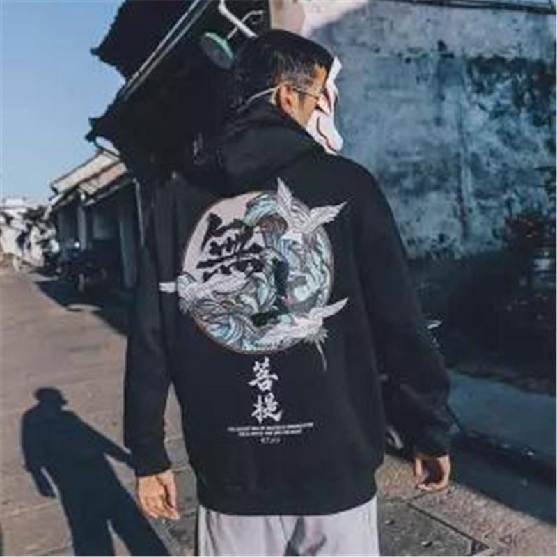 Sudadera Harajuku de moda 5XL con capucha para hombre, sudadera informal negra de Hip Hop con estampado japonés, ropa de calle, Sudadera con capucha de invierno