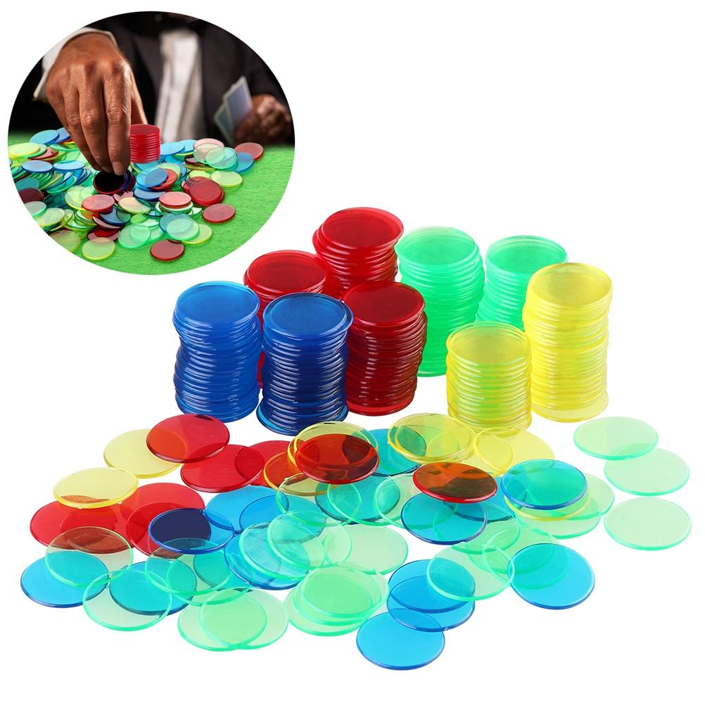300PCS Tokens 6 Farben Runde Kunststoff Mahjong Tokens Spiel Token Münze Poker Tokens Poker Chips Für Spiel Poker Bord spiel